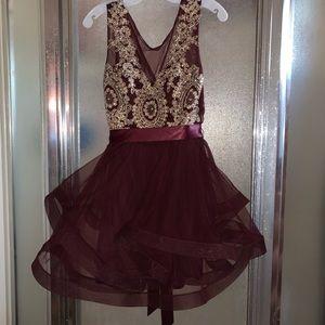 Dark Burgundy Red City Triangles Homecoming Dress